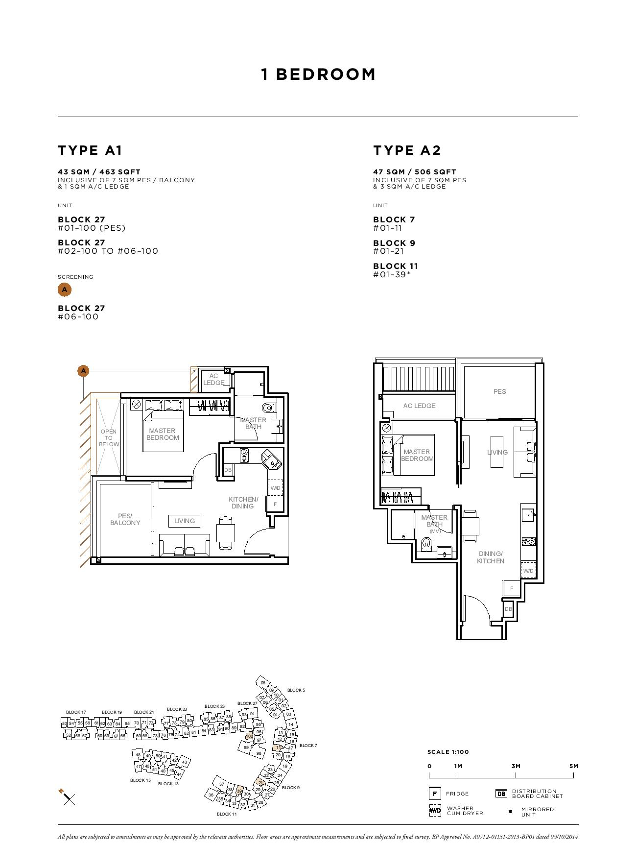 Sophia Hills 1 Bedroom Type A1, A2 Floor Plans