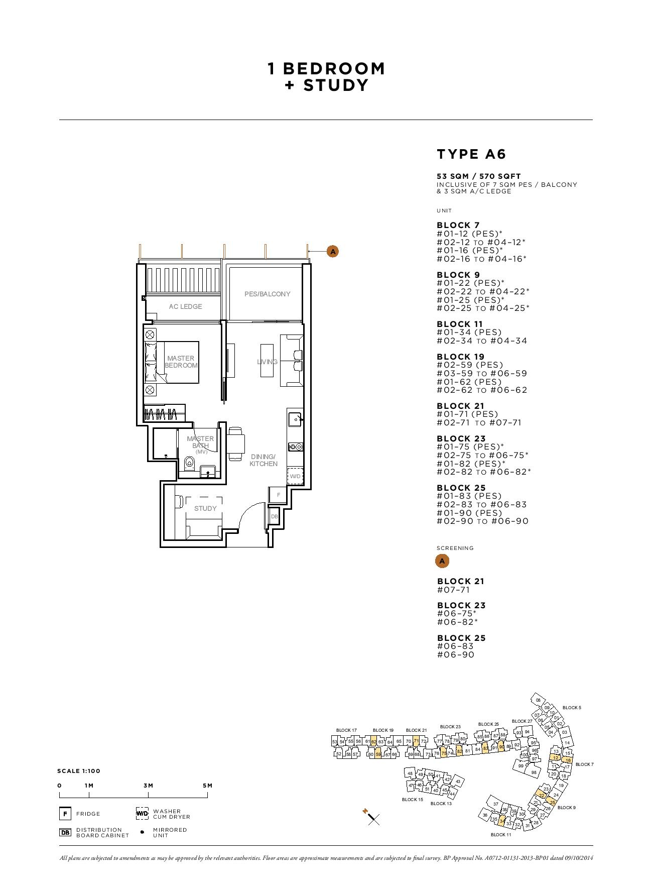 Sophia Hills 1 Bedroom + Study Type A6 Floor Plans