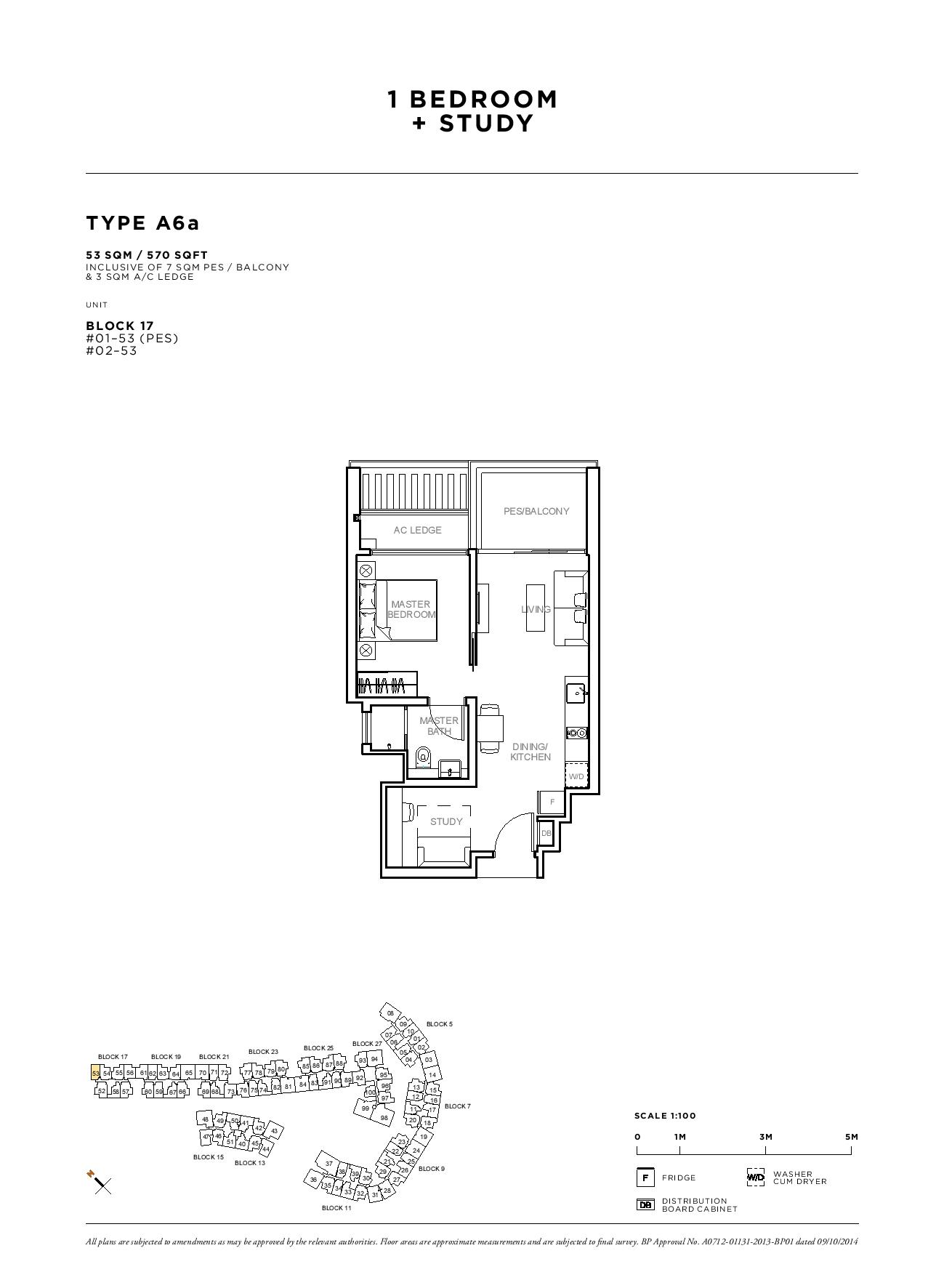 Sophia Hills 1 Bedroom + Study Type A6a Floor Plans