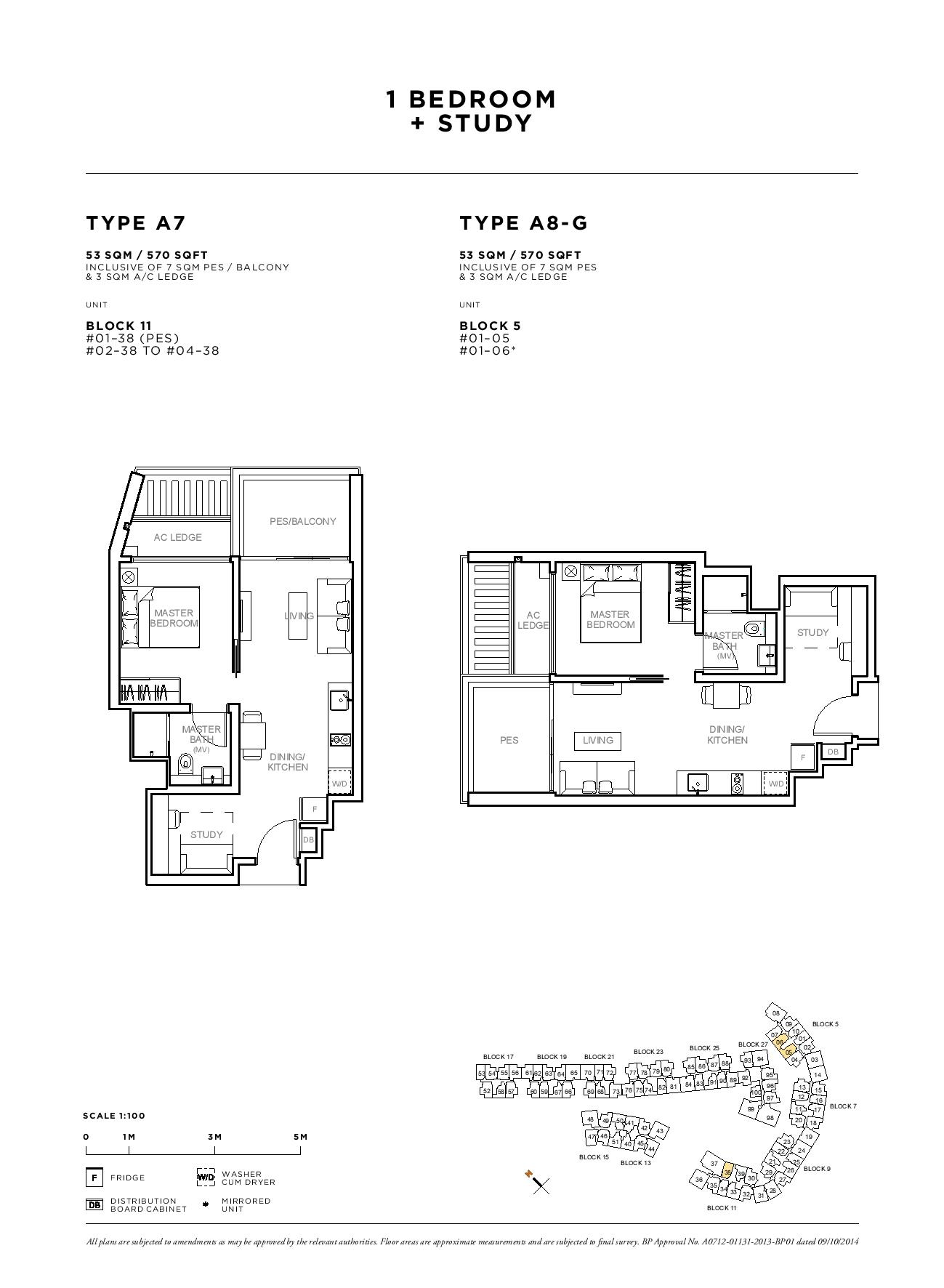 Sophia Hills 1 Bedroom + Study Type A7, A8-G Floor Plans