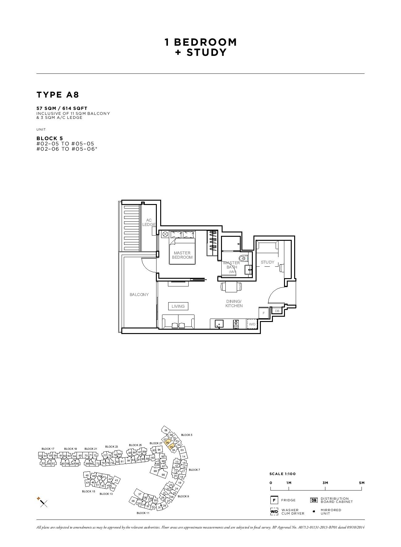Sophia Hills 1 Bedroom + Study Type A8 Floor Plans