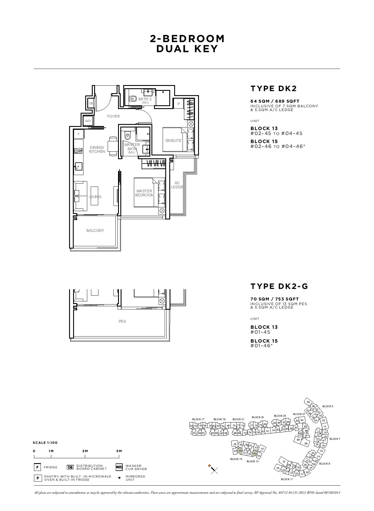 Sophia Hills 2 Bedroom Dual Key Type DK2 Floor Plans