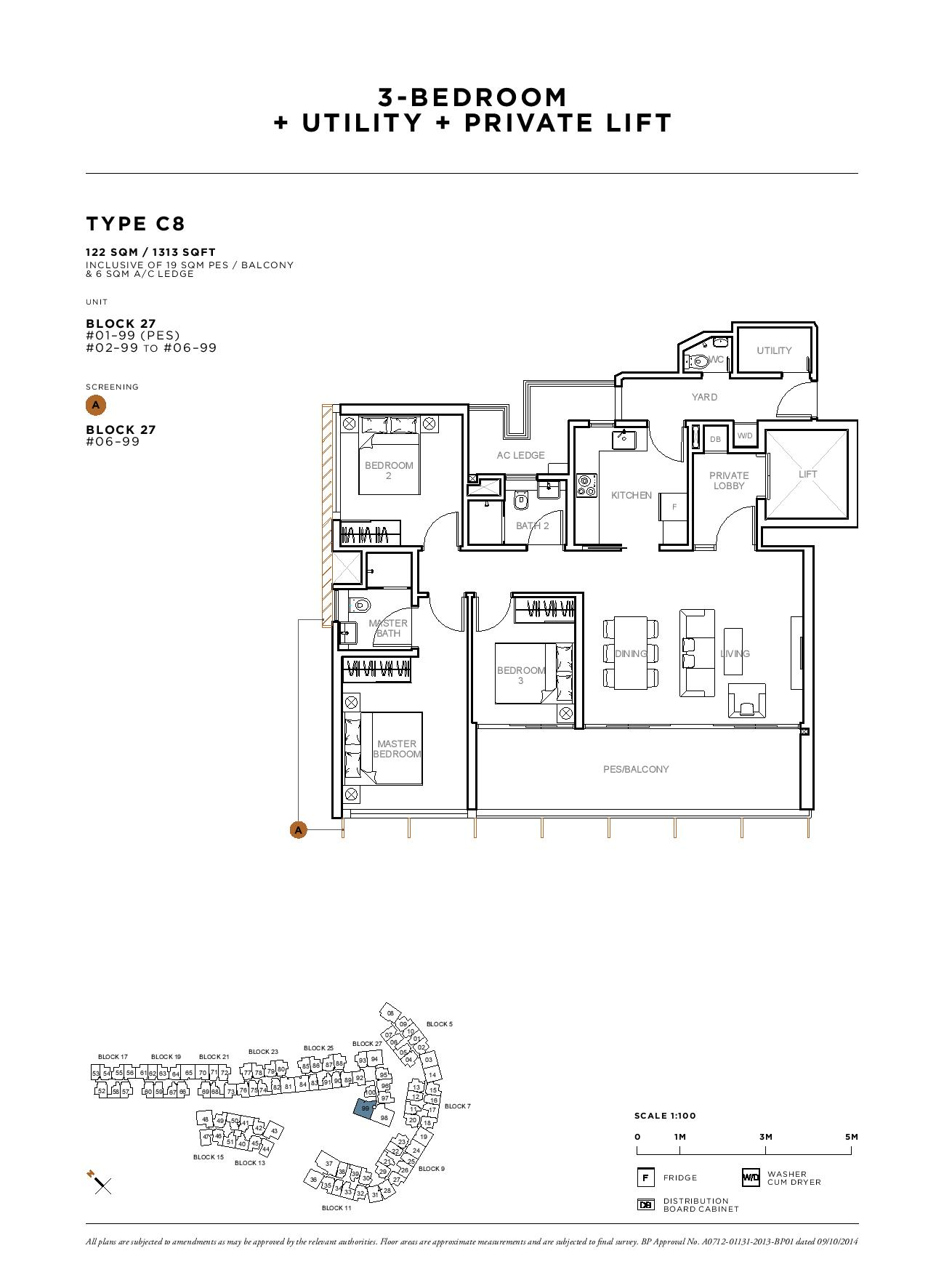 Sophia Hills 3 Bedroom + Utility Private Lift Type C8 Floor Plans