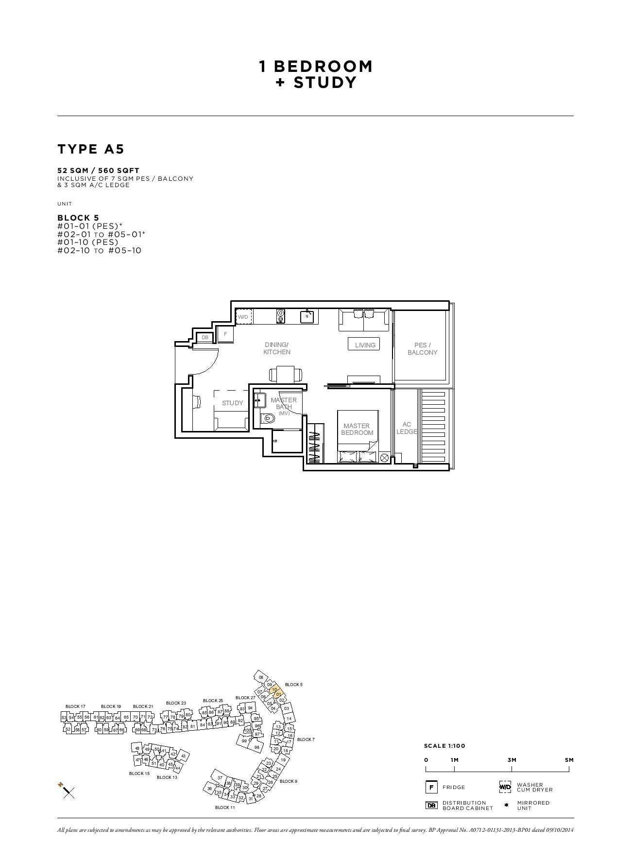 Sophia Hills 1 Bedroom + Study Type A5 Floor Plans