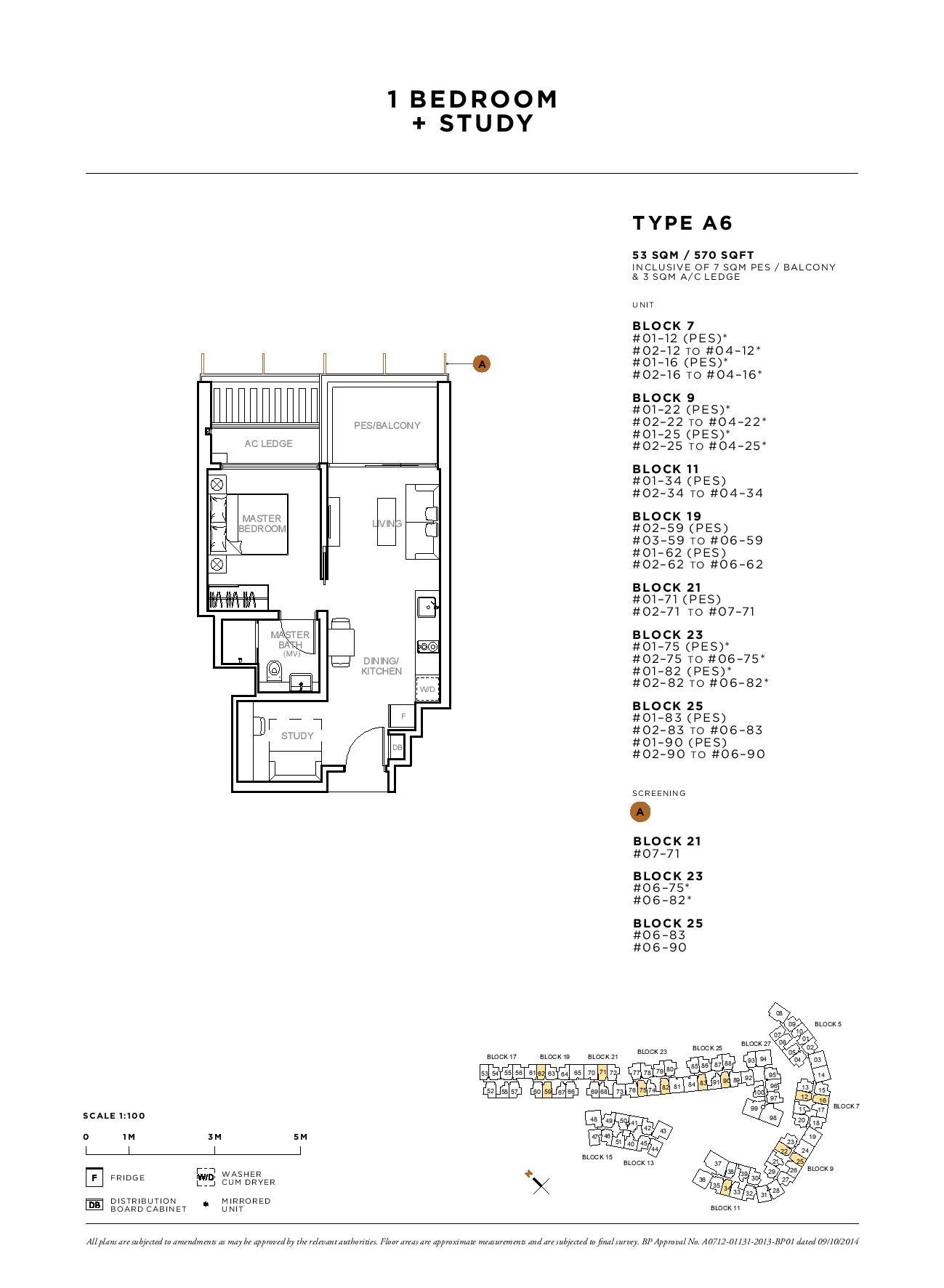 Sophia Hills 1 Bedroom + Study Type A6 Floor Plans
