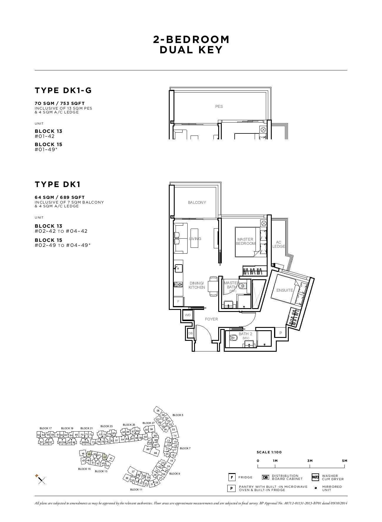 Sophia Hills 2 Bedroom Dual Key Type DK1-G, DK1 Floor Plans