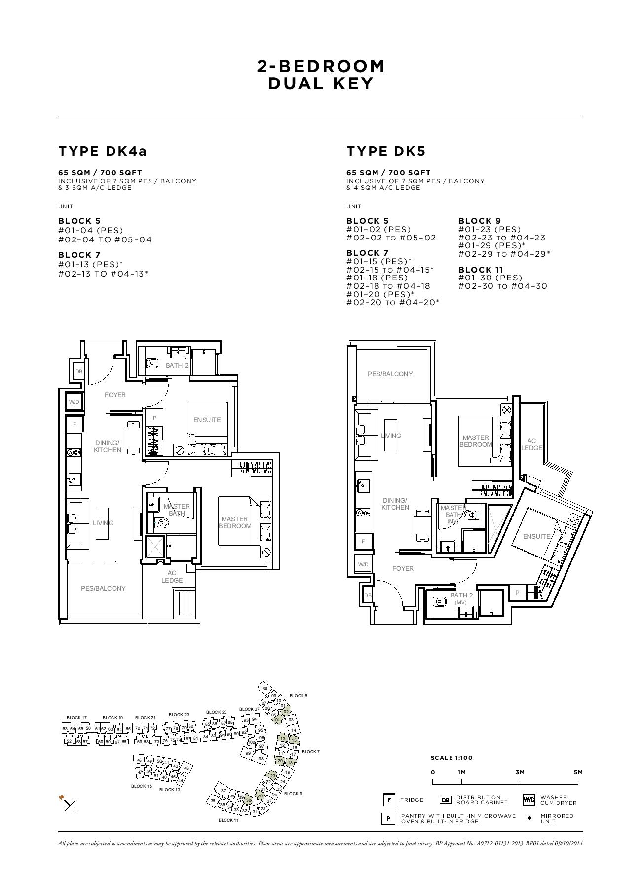 Sophia Hills 2 Bedroom Dual Key Type DK4a, DK5 Floor Plans